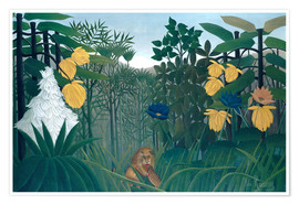 Premium poster  The meal of the lion - Henri Rousseau