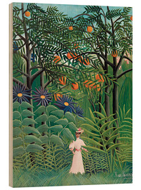Wood print  Woman in an exotic forest - Henri Rousseau
