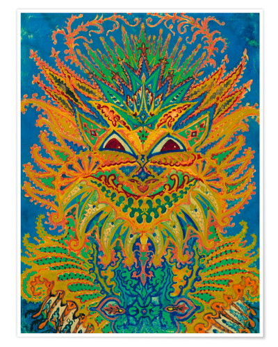 03bd4c7bcff Kaleidoscope Cats  Cats pattern on blue Posters and Prints ...