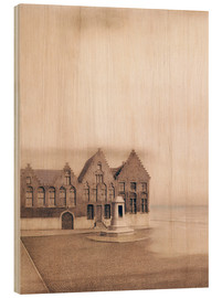 Wood print  The abandoned town - Fernand Khnopff
