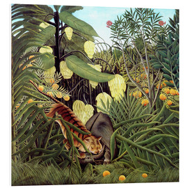 Foam board print  Combat of tiger and buffalo - Henri Rousseau