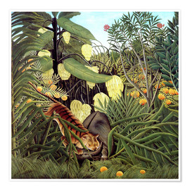 Premium poster  Combat of Tiger and Buffalo - Henri Rousseau