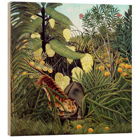Wood print  Combat of Tiger and Buffalo - Henri Rousseau