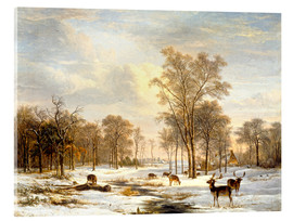Acrylic print  Winter landscape with stags - Pieter Gerardus van Os