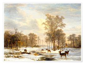 Premium poster Winter landscape with stags