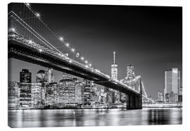 Canvas print  Brooklyn Bridge with Manhattan Skyline (monochrome) - Sascha Kilmer