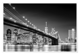 Premium poster Brooklyn Bridge with Manhattan Skyline (monochrome)