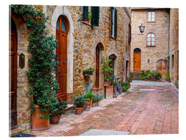 Acrylic print  Picturesque alley in Pienza - Julie Eggers