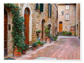 Premium poster Picturesque alley in Pienza