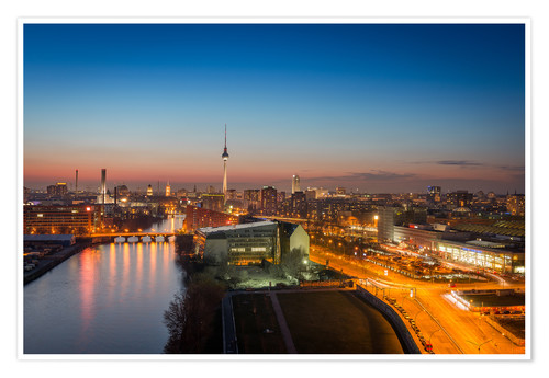 Premium poster Berlin Skyline Blue Hour