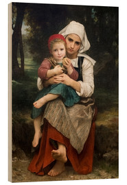 Wood print  Breton Brother and Sister - William Adolphe Bouguereau