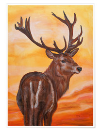 Premium poster sundown, deer