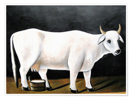 Premium poster  White Cow on a Black Background - Niko Pirosmani
