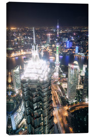Canvas  Shanghai city from the top, illuminated at night, China - Matteo Colombo