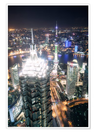 Premium poster  Shanghai city from the top, illuminated at night, China - Matteo Colombo