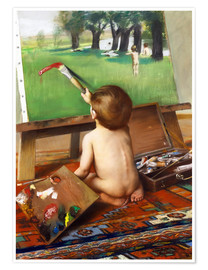 Premium poster Young painter at the experiment