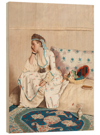 Wood print  Portrait of Marie Fargues - Jean Etienne Liotard