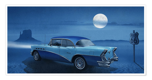 Premium poster Blue night on Route 66
