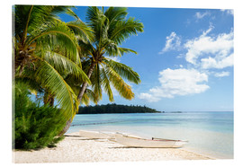 Acrylic print  Beach with palm trees and turquoise ocean in Tahiti - Jan Christopher Becke