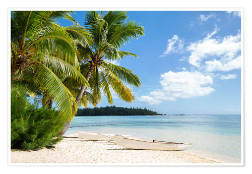 Premium poster Beach with palm trees and turquoise ocean in Tahiti