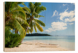 Wood  Beach with palm trees and turquoise ocean in Tahiti - Jan Christopher Becke