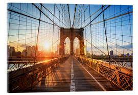 Acrylic glass  Brooklyn Bridge in NY at sunrise - Jan Christopher Becke