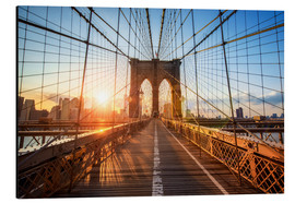 Alu-Dibond  Brooklyn Bridge in NY at sunrise - Jan Christopher Becke
