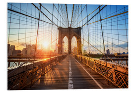 Foam board print  Brooklyn Bridge at sunrise, New York - Jan Christopher Becke