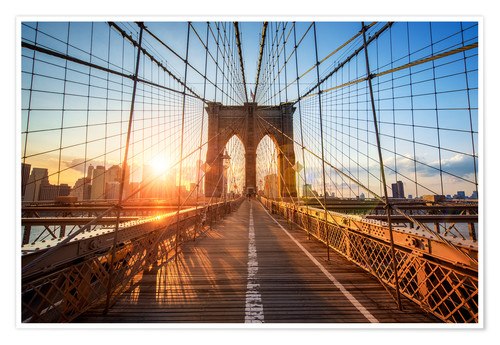Poster Brooklyn Bridge in NY at sunrise