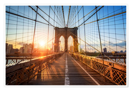 Premium poster  Brooklyn Bridge at sunrise, New York - Jan Christopher Becke