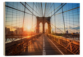 Wood  Brooklyn Bridge at sunrise, New York - Jan Christopher Becke