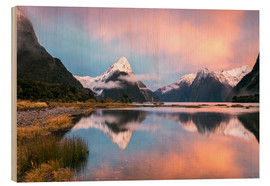Wood print  Milford Sound, New Zealand - Matteo Colombo