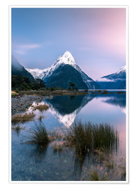 Premium poster Landscape: sunrise at Milford Sound, Fjordland National park, New Zealand