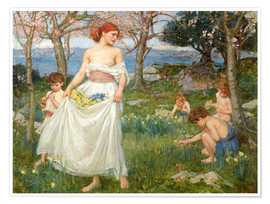 Premium poster  The spring field - John William Waterhouse