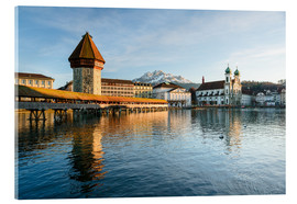 Acrylic print  Chapel Bridge in Luzern with Pilatus in the Background, Switzerland. - Peter Wey