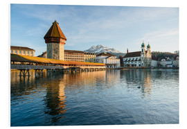 Foam board print  Chapel Bridge in Luzern with Pilatus in the Background, Switzerland. - Peter Wey