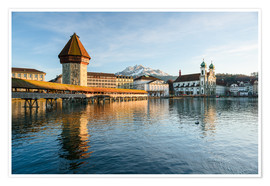 Premium poster  Chapel Bridge in Luzern with Pilatus in the Background, Switzerland. - Peter Wey