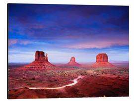 Aluminium print  Panorama of Monument Valley at dusk after sunset, Utah, USA - Peter Wey