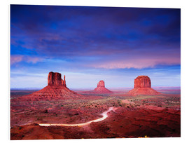 Foam board print  Panorama of Monument Valley at dusk after sunset, Utah, USA - Peter Wey
