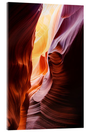 Acrylic print  Glowing walls of Lower Antelope Slot Canyon at Page, Arizona, USA - Peter Wey
