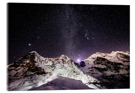 Acrylic print  Eiger, Monch and Jungfrau mountain peaks at night - Peter Wey