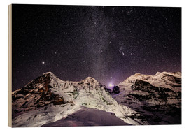 Wood print  Eiger, Monch and Jungfrau mountain peaks at night - Peter Wey