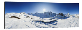 Aluminium print  360 degree mountain panorama from Riffelberg above Zermatt with Monte Rosa and Matterhorn in Winter - Peter Wey