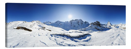 Canvas print  360 degree mountain panorama from Riffelberg above Zermatt with Monte Rosa and Matterhorn in Winter - Peter Wey