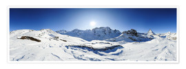 Poster  360 degree mountain panorama from Riffelberg above Zermatt with Monte Rosa and Matterhorn in Winter - Peter Wey