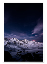 Premium poster Diavolezza moonset by night, Engadin, Switzerland.