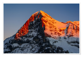 Premium poster Eiger mountain peak at sunset  View from Lauberhorn, kleine Scheidegg, Grindelwald, Switzerland