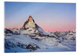 Acrylic print  Matterhorn at sunrise, view from Gornergrat, Zermatt, Valais, Switzerland - Peter Wey