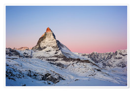 Premium poster Matterhorn at sunrise, view from Gornergrat, Zermatt, Valais, Switzerland