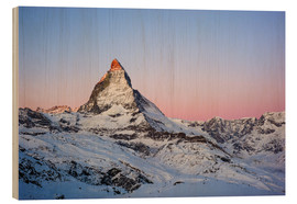Wood print  Matterhorn at sunrise, view from Gornergrat, Zermatt, Valais, Switzerland - Peter Wey
